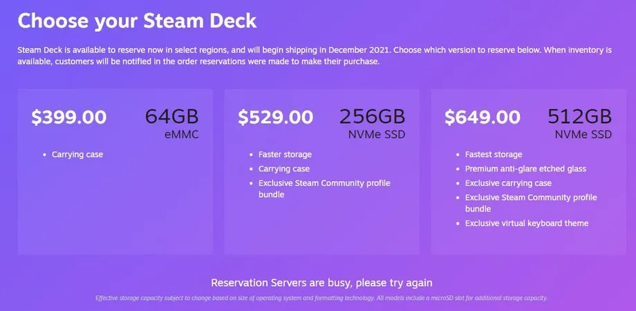 Steam Deck reservations crashed Steam immediately